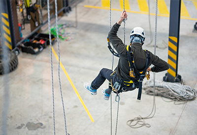 person participating in fall protection engineer training